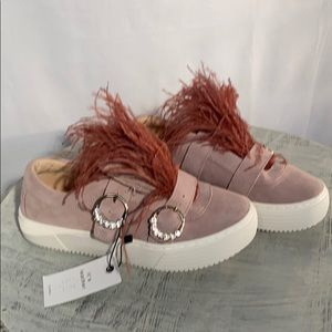 Zara Suede Sneakers,  with feathers! NWT